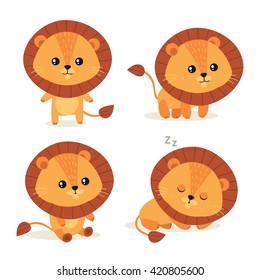 Cute little lion. Vector illustration.