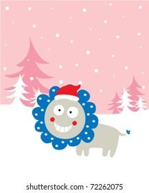 cute little lion xmas greeting card