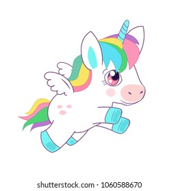 Cute Little Magic Unicorn Vector Illustration. Fairy Tale Character. Fantasy Cartoon Character. Flying Unicorn. Animals And Mythical Creatures.