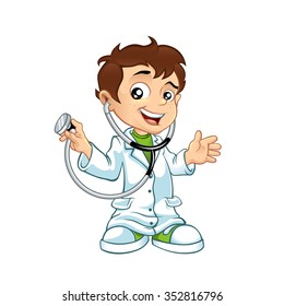 Cute little male doctor smiling
