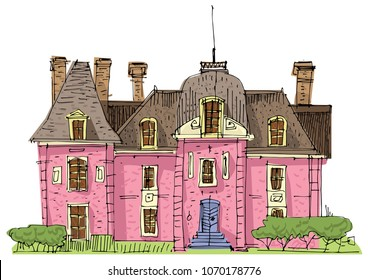 A cute little mansion in edwardian style with towers. Cartoon.