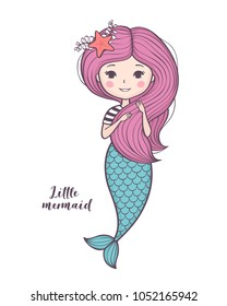 Cute little mermaid. Beautiful cartoon mermaid girl with pink hair, character design, isolated on white background. Vector illustration.