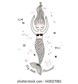 cute little mermaid, doodle nursery illustration
