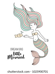 Cute little mermaid with fish. Under the sea vector illustration. Dream big little mermaid