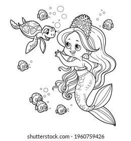 Cute little mermaid girl in coral tiara communicates with a small sea turtle outlined for coloring page isolated on white background