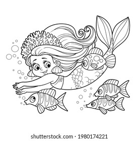 Cute little mermaid girl in coral tiara swims with fish outlined for coloring page isolated on white background