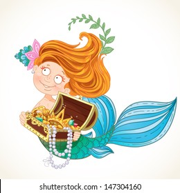 Cute little mermaid holding a treasure Chest