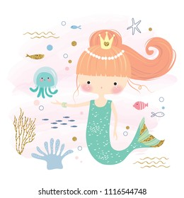 Cute little mermaid and marine life cartoon