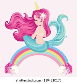 cute little mermaid on rainbow vector illustration for kids artwork, children books, prints, greeting cards.