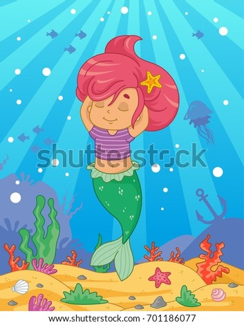 Cute Little Mermaid On The Sea Background Vector Illustration For Kids