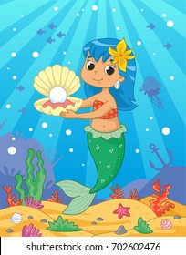 Cute little mermaid with a sea shell on the sea background. Vector illustration for kids