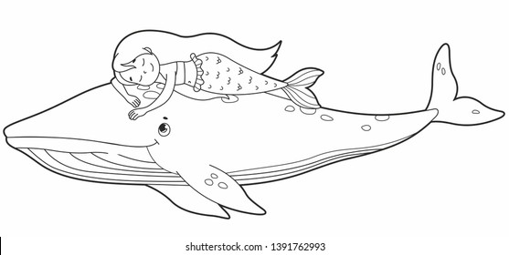 Cute little mermaid sleeping on the wale back. Coloring book. Vector cartoon mermaid. Vector illustration for children