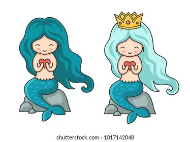 Cute little mermaid with turquoise hair with heart in hands. Syren, sitting on a rock. Cartoon vector illustration.