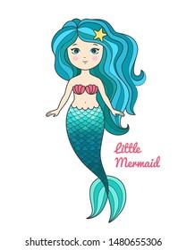 Cute little mermaid with turquoise hair cartoon style vector illustration