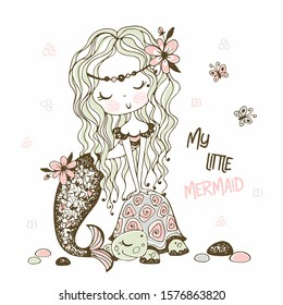 A cute little mermaid with a turtle. Doodle style. Vector.