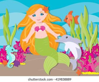 Cute little mermaid under the sea with a cute dolphin, cute seahorse, and cute fish.