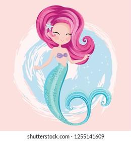 Cute little mermaid vector illustration for kids fasihon artworks, children books, t shirt prints, greeting cards.