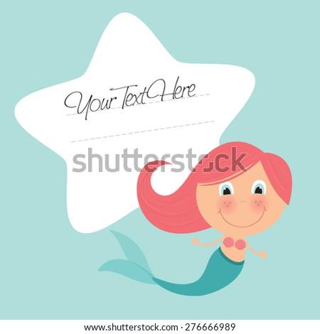 cute little mermaid vector illustration template stock vector