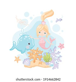 Cute little mermaid and whale vector clip art on white background