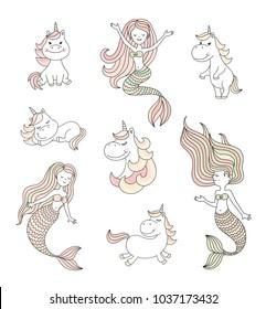 Cute little mermaids and magical unicorns vector set
