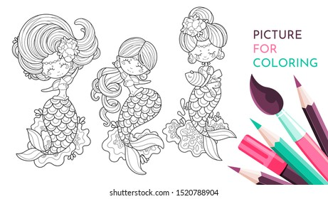 Coral Mermaid Coloring Pages PDF | Katherine Dattilo | 280x461
