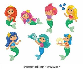 Cute little mermaids set. Vector illustration for kids