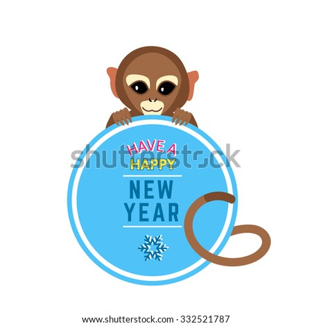 cute little monkey with new year wishes card template holiday banner vector 2016 chinese