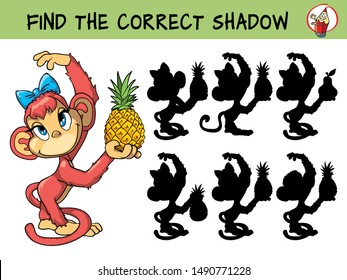 Cute little monkey with pineapple. Find the correct shadow. Educational matching game for children. Cartoon vector illustration