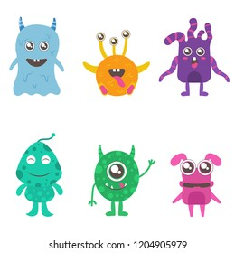 Cute little monster illustration on white background, cute alien caracter set