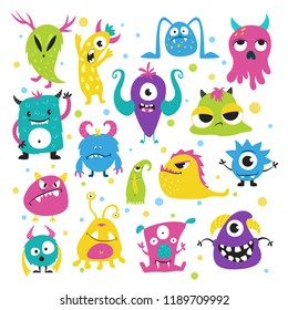 Cute little monsters in bright colors. Collection of spooky creatures, cute little child apartment decoration. Vector flat style cartoon funny monsters illustration isolated on white background