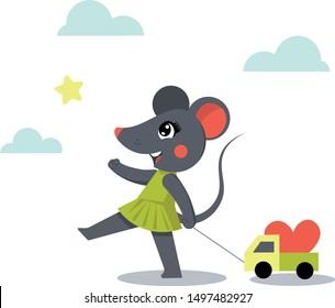 Cute little mouse is carrying a car as a birthday present
