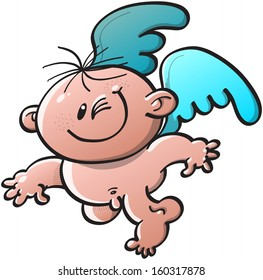 Cute little naked angel with blue wings while flying, smiling and winking mischievously