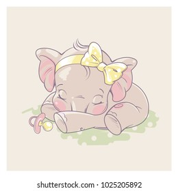 Cute little newborn baby elephant girl sleeping. Cartoon character of baby girl of 1 - 6 months old, with pacifier. Happy  healthy child. Pastels colors vector illustration.