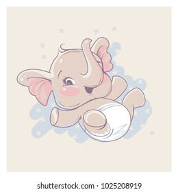 Cute Little Newborn Baby Elephant Girl Lying On Back Cartoon Character Of