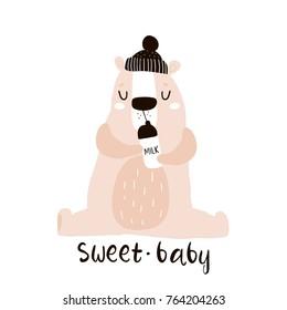 Cute little one bear drink milk print. Childish illustration for nursery, apparel, card, baby shower. Creative kids design