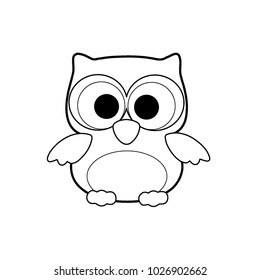 Cute Little Owl Cartoon Made In Line Art Black And White Coloring Page For Kid