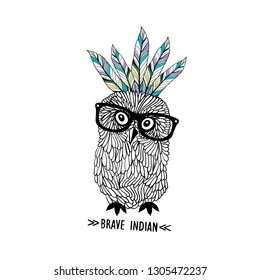 Cute little owl with indian headdress. Vector hand drawn illustration of funny bird and feathers,