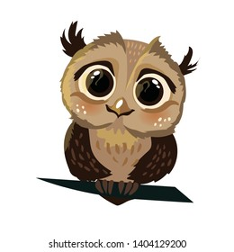 Cute little owl on a branch on a white background isolated. Color vector illustration.