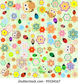 Cute Little Owls Ladybugs And Flowers Background Vector
