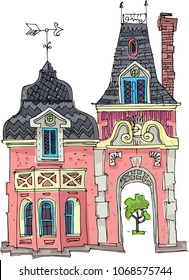 A cute little palace in baroque style with archway, wind vane and gates. Cartoon.