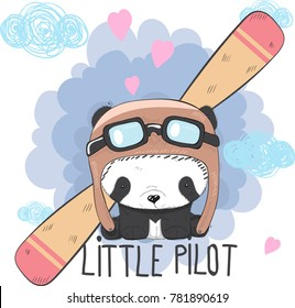 Cute little Panda bear flying plane cartoon hand drawn vector illustration. Can be used for t-shirts print, fashion print design, children's clothing, baby shower, holiday greeting and invites.