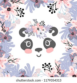 Cute little panda head with flower crown. Vector hand drawn illustration for card and shirt design.