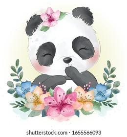 Cute little panda portrait with water color effect