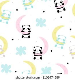 Cute little panda sleep on the moon seamless pattern. Vector hand drawn illustration.