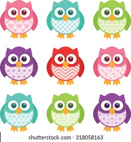Cute little patterned owls with modern patterns on their bellies. All of the colors are easily editable, and the objects are simple to un-group and edit.