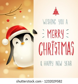 Cute little Penguin with big signboard. Merry Christmas calligraphy lettering design. Creative typography for holiday greeting.