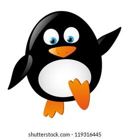 Cute little penguin isolated on white