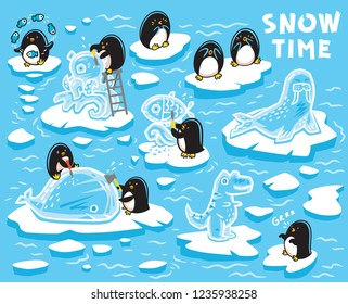 Cute little penguins creates ice statues on the ice floes. Vector illustration