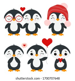 Cute little penguins. Holiday animals. New Year, Christmas, St. Valentine's Day, World Penguin Day. Set of vector illustration isolated on white background.