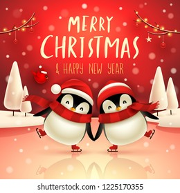 Cute little penguins skate on frozen river in Christmas snow scene. Christmas cute animal cartoon character.